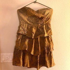 Anthropologie strapless ruffled brocade dress
